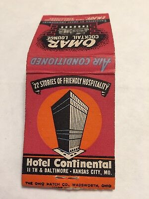1940's Hotel Continental Omar Cocktail Lounge Kansas City MO Matchbook Unused