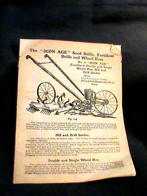 Iron Age seed drills, fertilizer, drills and wheel hoes w/pics 1880s