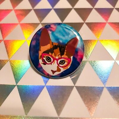 Cat Eye Lily Calico Cat Pin Back Button