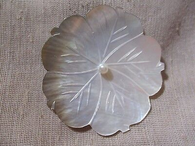 """HANDCARVED ETCHED WHITE & """"SMOKE"""" MOTHER OF PEARL FLOWER BUTTON - 2-1/8th in"""