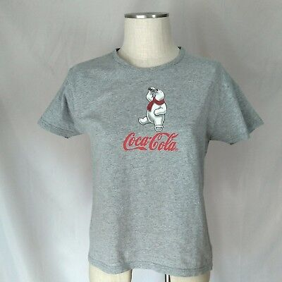 Coca Cola Vintage Womens T Shirt Top Polar Bear Size Large Gray S/s Preowned