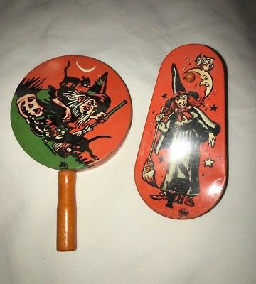 2 Vintage Halloween Witches Black Cats Ratchet Tin Noisemakers US  METAL TOY CO.