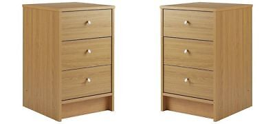 Pair Oak Bedside Chests Tables Cabinets Set Of 2 Wood Wooden 3 Drawers