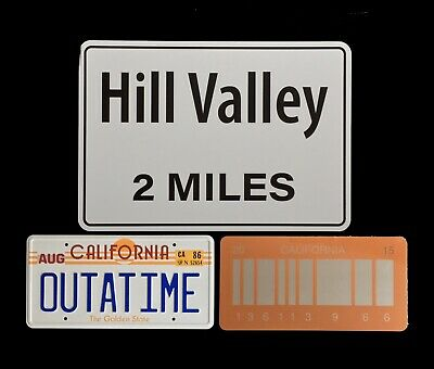 Back to the Future OUTATIME, Orange Barcode License Plates and Hill Valley sign