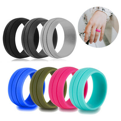 FT- Silicone Wedding Engagement Ring Men Women Rubber Band Gym Sport Flexible Ey