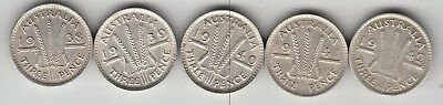 1x EACH 1938,1939,1940,1941 & 1942m THREEPENCE's 3d's GRADES VF TO UNC