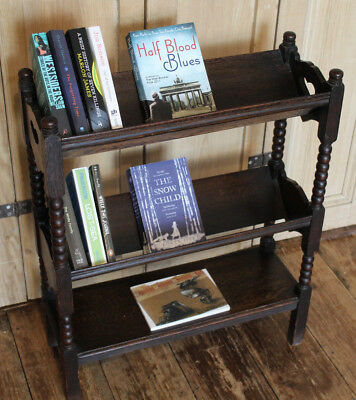 Antique Arts & Crafts Book Cradle Bookcase With Heart And Bobbin Detail Libertys
