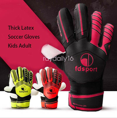 Adult Children Goalie Gloves Latex Non-slip Belt Fingers Goalkeeper Gloves