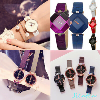 Women Magnet Buckle Starry Sky Quartz Crystal Leather Strap Wristwatch Gift Hot