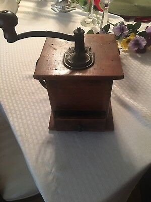antique coffee grinder wood