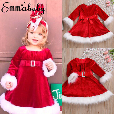 Xmas Toddler Kids Girls Christmas Santa Striped Princess Dresses Outfits Clothes