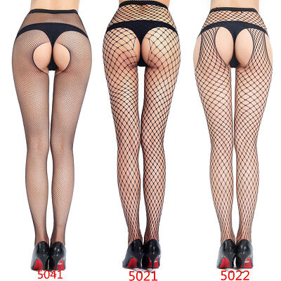 Four-sided Open Crotch Pantynose Netted Body Stockings Sexy Lingerie Thigh-highs