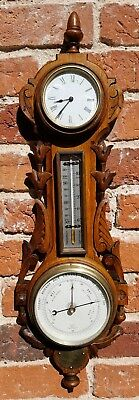 19th Century Antique Carved Wooden Wall Clock with Barometer & Thermometer