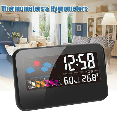 LCD Temperature Humidity Weather Meter Hygrometer Room Indoor Thermometer Clock