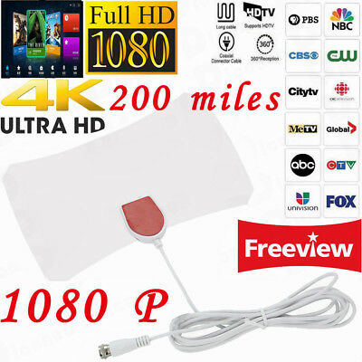 White 4K Antena HD Skylink 200 Mile Range Antenna TV Digital Indoor HDTV 1080P