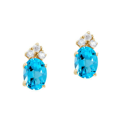 14k Yellow Gold Blue Topaz and Diamond Oval Earrings