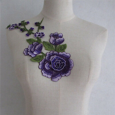 new arrive purple rose Embroidery Lace Collar Fabric Applique YL892