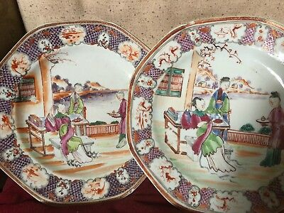 Antique Pair Of Chinese Famille Rose Plates Panelled Borders 18th/19th Century