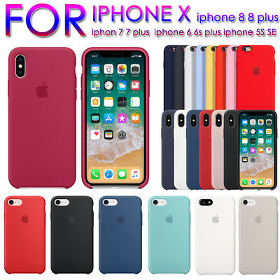 Genuine Original Silicone Case Cover For Apple Iphone Xs Max Xr 8 7 Plus 6 5S SE