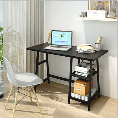 Black Computer Table With Shelves Home Office Study PC Laptop Table Workstation