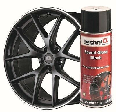 TechniQ 51001 Alloy Wheel Paint Spray Gloss Black 400ml Can High Quality Paint