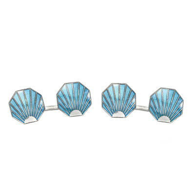 Deakin and Francis Silver & Enamel Blue Vintage Collection Shell Cufflinks