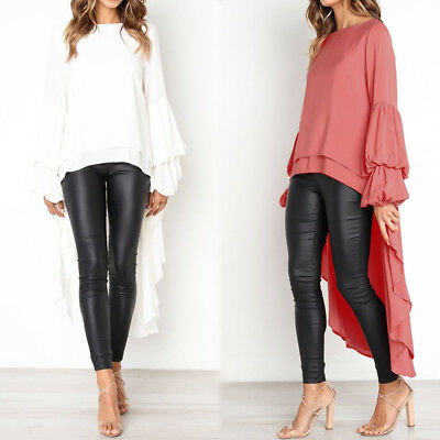 Women Plus Size Bell Sleeve Flare Chiffon Top Tee T Shirt Tiered Tunic Blouse