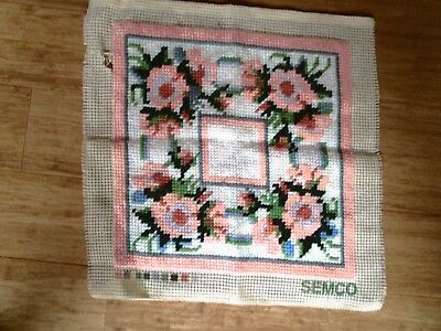 Damaged Semco Completed Floral Cushion Front. ? Is Repairable By Buyer