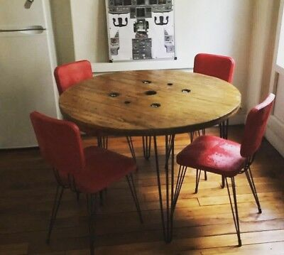 113cm Wooden Round Industrial Dining Table Cable drum reel Upcycled Bespoke