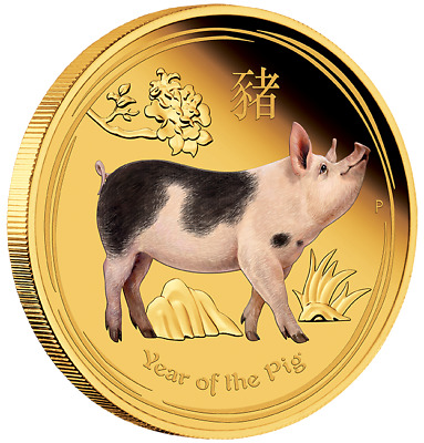 Australian Lunar Gold Coin Series II 2019 Year of the Pig 1oz Gold Proof