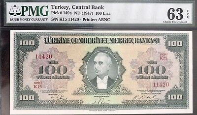 Turkey 4th Emission 100 Lira Inonu UNC EPQ63 Best Known