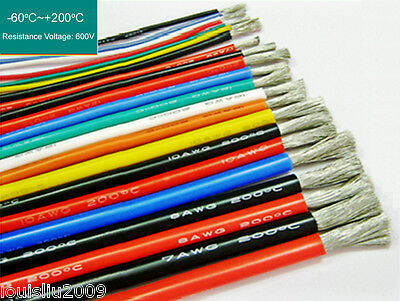 10m Flexible Soft Silicone Wire Tin Copper RC Electronic Cable W/Various Colours