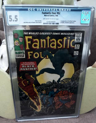 Marvel Comics 5.5 CGC GRADE FANTASTIC FOUR  #52 1ST APPEARANCE BLACK PANTHER