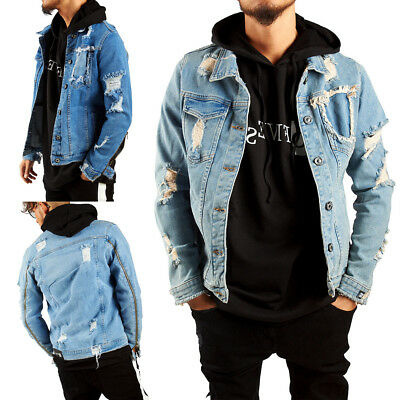 new arrival 23611 7e32b NEU HERREN DESTROYED Denim Jacket Jeansjacke Zerrissen 1806 Jacke Gr. S-XL