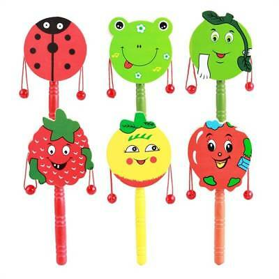 Cartoon Rattle Wooden Handbell Jingle Rattle Toy Musical Instrument For Baby