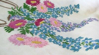"Beautiful Vintage Linen Hand Embroidered Tablecloth ~ Floral 48"" X"