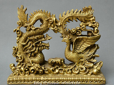 Chinese fengshui old bronze Dragon phoenix Opera beads auspicious animal statue