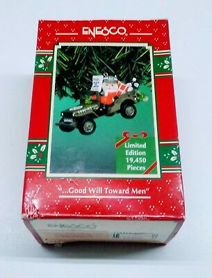 """ENESCO """"GOOD WILL TOWARD MEN"""" CHRISTMAS ORNAMENT WITH SANTA IN distressed packag"""