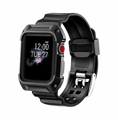 MAIRUI Rugged Protective Case with Strap Bands for Apple Watch Series 1, 2 and 3