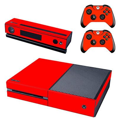 Red Console SKIN + 2 x Controller Stickers Decal for Xbox One FacePlate