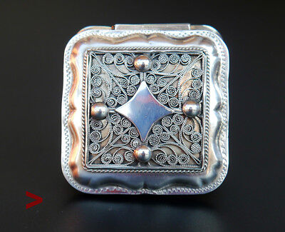 1878 Antique European Dutch square Sterling Silver Vanity Pill Snuff Box /38gr