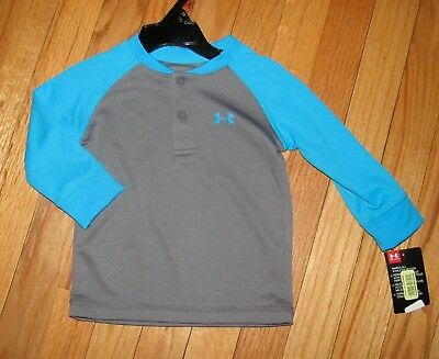 Under Armour Boys LS Gray Blue Inset Sleeves Shirt 24M NWT