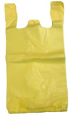 "Yellow Plastic T-Shirt Shopping Grocery Bags Handles Medium 10""x5""x18 Lot 200"