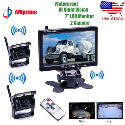 "2Pcs Wireless Rear View Backup Camera Night Vision + 7"" Monitor for RV Truck Bus"