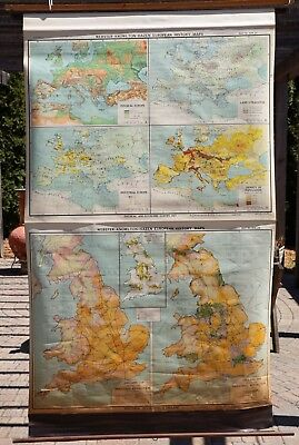 Pull Down Map of Europe and England ~ Webster-Knowlton-Hazen European History