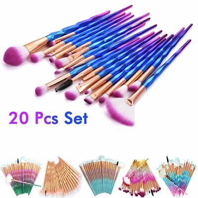 20PCS Unicorn Rose Gold Make up Brushes Set Foundation Eyeshadow Best Face Tools