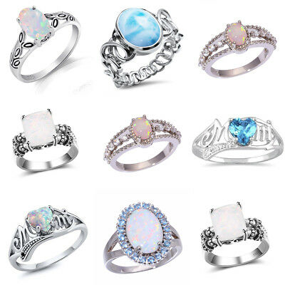 Wholesale Ring Women Classic Fashion Jewelry Party Gift Opal Gem Heart Circle