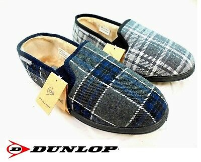 New Mens Dunlop Slippers Luxury Memory Foam Warm Lined Twin Gusset Size 7 - 12