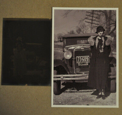 1933 Vintage Car Photo Pretty Girl with Model A Ford , Orig. Negative included