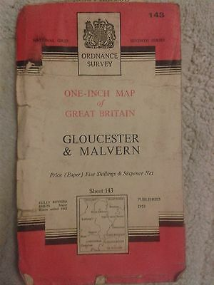 Ordnance Survey - One Inch Map - Gloucester & Malvern - Sheet 143 - 1953